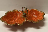 Vintage USA Pottery Orange Divided Candy Dish w/Gold Speckled Edges # 659