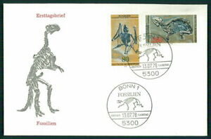 GERMANY FDC 1978 MESSEL FOSSILS FOSSIL PREHISTORY HORSE BAT PALEONTOLOGY h3725