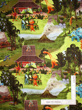 Dinosaur Prehistoric Dino Jungle Volcano Scenic Cotton Fabric By The Yard