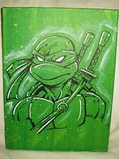 Canvas Painting Ninja Turtles Leonardo Speckled Green Art 16x12 inch Acrylic