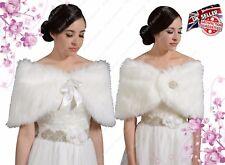 New Elegant Faux Fur Bridal Wedding Winter Wrap Bolero Coat Shawl Ivory S/M/L/XL