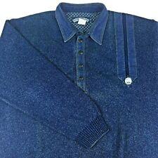 VTG Blue Willi's Mens XL X-Large Denim Trim Polo Sweater Collared Knit Denmark