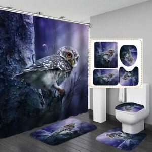 Cute Little Owl Blue Shower Curtain Bath Mat Toilet Cover Rug Bathroom Decor