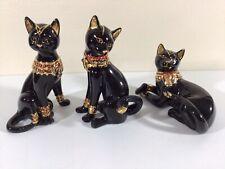 Set Of 3 Lenox Bejeweled Egyption Goddess Black Cat Figurines 2002 & 2004