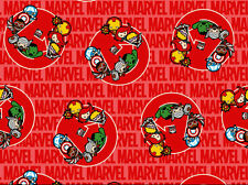 MARVEL KAWAII UNITED  AVENGERS SUPERHEROS  100% COTTON FABRIC QUILTING  YARDAGE