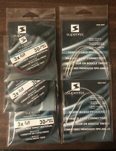 Bundle 3) Superfly 3X 8Lb Test  30m Copolymer Tippet Material & 2) Braided Loop
