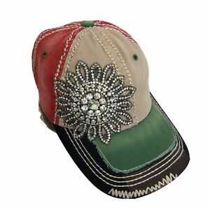 Olive & Pique Ball Hat Cap Distressed Big Bling Rhinestone Flower Accent OS