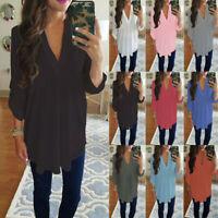 Tunic Women Shirt Top Long Sleeve Blouse Ladies Chiffon V Neck  Plus Size