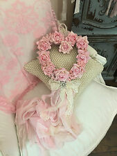 Pink Rose Ribbon Shabby French Cottage SHABBY CHIC HEART WREATH