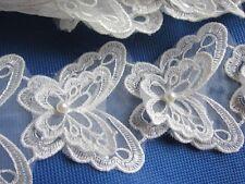 "10pcs Organza Butterfly 2.75"" Lace Edge Trim Pearl Wedding Applique DIY Sewing"