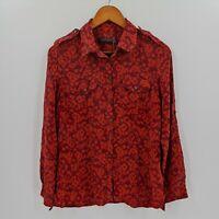 Sportcraft Womens Collar Shirt Size 12 Red Orange Button Front Long Sleeve Silk