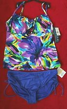 Longitude Tankini Top with 24th & Ocean Blue Bottoms size 16/18W