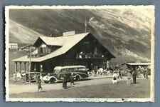 France, Col des Aravis, Les Rododendrons  Vintage silver print. Voiture d'é