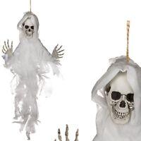 "Halloween-Deko Dekoration Grusel-Kunststoff-Figur 75cm Helloween ""Skull IV"" weiß"