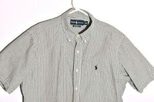 Ralph Lauren Mens Size Medium Dress Shirt Medium Black Stripes Short Sleeve