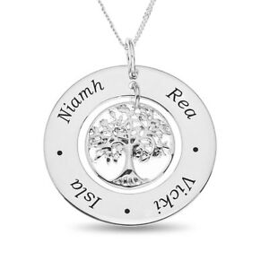 """Sterling Silver Family Tree Pendant on 18"""" Chain Personalised With 4 Names"""