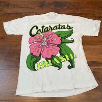 VINTAGE M & L Mens T Shirt Small White Cotton Gumamela Graphic Tee
