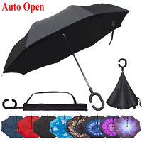 Double Layer Inverted Umbrella Reverse Folding Windproof Car Rain UV C-Handle