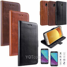For Samsung Galaxy J7 V 2018/Refine/Star Leather Wallet Case with Tempered Glass