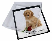 4x Cockerpoodle+Rose 'Love You Mum' Picture Table Coasters Set in G, AD-CP6RlymC