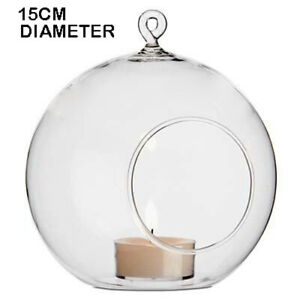 10 x 15cm LARGE Glass Hanging Ball Orb Outdoor Tealight Candle Succulent Holder