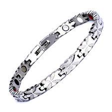 Elegant Magnetic Therapy Bracelet Women's Quad-Element Titanium Silver by Novoa