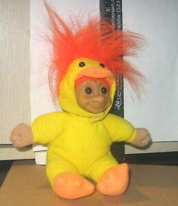 "Russ Troll WISHNIK Doll 6""  DUCK /CHICKEN  ORANGE HAIR SOFT BODY PLASTIC FACE GC"