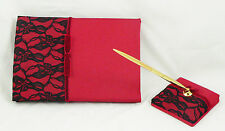 Red Satin Cover Black Lace Birthday Party Anniversary Event Guest Register Book