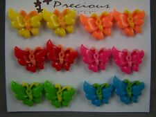 Butterfly set pack of 6 plastic pair post stud earrings metal back packB
