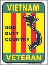 """DECAL A2226  VIETNAM VETERAN GOD DUTY COUNTRY   Viet Nam flag 2.5"""" x3.5"""" sticker"""