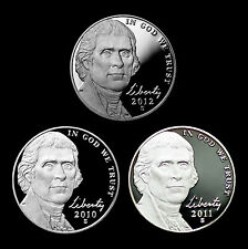 2010 2011 2012 S Jefferson Nickels ~ Set of Mint Proof Coins with Deep Cameo