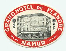 NAMUR BELGIUM GRAND HOTEL DE FLANDRE VINTAGE LUGGAGE LABEL