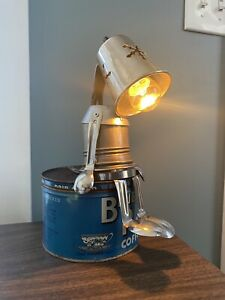 """Don"" Metal Sculpture Sad 😞 lamp Vintage Coffee Tin Handmade Desk Lamp"