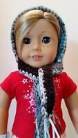 "Cute Multicolored Crocheted Hat & Scarf fits American Girl Dolls 18"" Dolls #2"