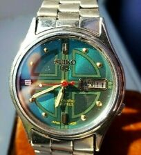 VINTAGE SEIKO 5 MEN'S WATCH - MECHANICAL AUTOMATIC DAY & DATE - GREEN DIAL