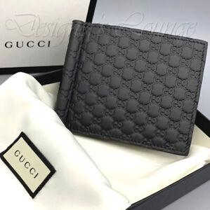NIB GUCCI Micro Guccissima GG Men's Black Leather Bi-Fold Wallet Money Clip $490