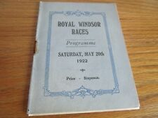 More details for horse racing programme : 1922 royal windsor races ~ may  20th  ***free post****