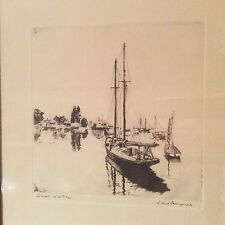 """Vintage Etching """"Quiet Waters"""" By Lionel Barrymore Art Sketching Drawings"""
