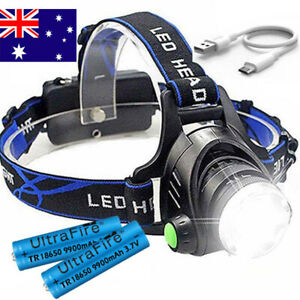Zoom Headlamp 90000LM Rechargeable T6 LED Headlight Flashlight Head Torch Fish