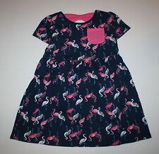 New Gymboree Navy Pink Flamingo Print Bow Back Dress Size 4T NWT Mix N Match