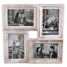Cadre d'image en plastique pour 4 Photos 10 x 15 cm BAROQUE VILLE #4 en blanc or