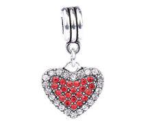 925 Silver Love Heart White Red CZ Pendant Charm Bead Fit Sterling Bracelet