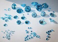 1 CZ Aquamarin 7,0 mmØ rd Brillantschliff Cubic Zirkona synthetischer Edelstein