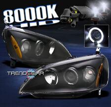 2001 2002 2003 HONDA CIVIC HALO PROJECTOR HEADLIGHTS+HID 8K BLACK DX EX GX HX LX