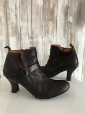 LOTTUSSE Brown Leather Heel Ankle Buckle Boots * 7 1/2 10 RARE!