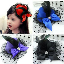 PARTY LADY  HAIR CLIP MINI TOP HAT ACCESSORY FEATHER LACE FASCINATOR BOWKNOT