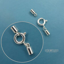 925 Sterling Silver Cord End Cap Connector w/ Spring Ring Clasp [2mm/3mm/4mm]