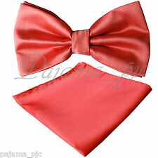 Brand New Men Coral Butterfly Style Pre-tied Bowtie & Pocket Square Hanky Set