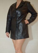 Women Black Short Coat Real Soft Leather Buttons Chantel Size Small 10