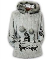 Gray Wolf Faux Fur Hooded Fleece Jacket Coat New S M L XL 2XL Black Mountain